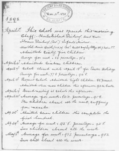 Camp school log book, 1898, copyright HALS